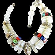 SALE Runway Vintage Lucite Huge Necklace with Rhinestones
