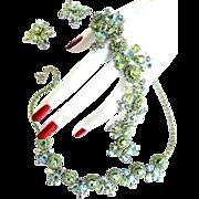 SALE Fabulous Elegant Weiss Peridot Necklace Bracelet Earrings c.50s