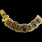 SALE Extraordinary Egyptian Revival Faux Stones Big Bold Vintage Bracelet