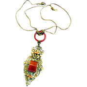SALE Exquisite Late 1800s Festoon Double Chain Carnelian Pendant Necklace