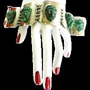 SALE Sensational Huge 1930s Mexican Silver Bracelet Carved Aztec Heads