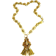 SALE Victorian Rose Gold 25 panel Necklace with Hanging Pendant  with Seed Pearls and Tassels.
