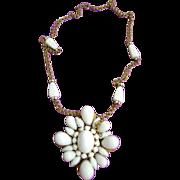 SALE Massive Schreiner Milk Glass Necklace/Brooch Golden Colored Chain 1950s