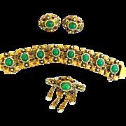 SALE Fabulous 1940s Hobe faux Pearl Enamel Bracelet Earrings Drippy Brooch