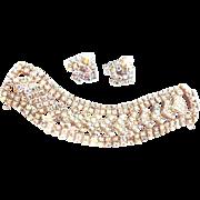SALE Dazzling Aurora Borealis Designer Wide Vintage Bracelet and Earrings