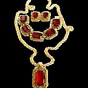 SALE Ravishing Red Color of Love Judy Lee Parure Necklace Bracelet Earrings
