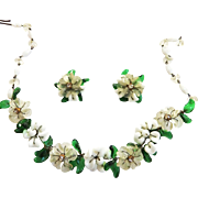 SALE Jaw Dropping 1940s Glass Flower Necklace and Earrings