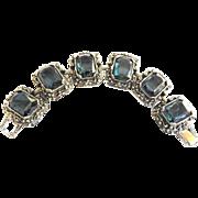SALE Judy Lee Highly Detailed Rennisance Revival Montana Blue Glass Bracelet
