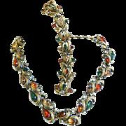 SALE Fabulous Vintage 50s Autumn Colors Necklace Bracelet Earrings Designer
