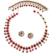SALE Fabulous Major Bling Kramer N.Y. Ruby Red Necklace with Drippy Bracelet and Earrings