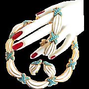 SALE Gorgeous Trifari Crown Vintage Faux Turquoise and Enamel Parure