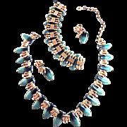 SALE Vintage Matisse Teal Blue Necklace Bracelet Earrings