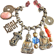 SALE Collectors Huge Buddha Fob Vintage Charm Bracelet Designer Asian Motif