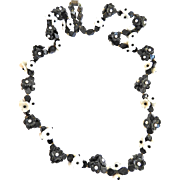 SALE Vintage French Glass Flower Necklace Black and white