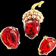 SALE Dazzling Schiaparelli Strawberry Broach and Earrings Vintage