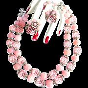 SALE Pretty in Pink Vendome GlassBead Necklace and Rhinestones 1950s