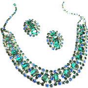 SALE Gorgeous Vintage High End Emerald Green and Sapphire  Blue Rhinestone  Collar and Earring