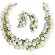 SALE Multi Rows of Mint Crystals Vintage Hobe Necklace and Earrings