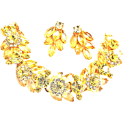 SALE Breathtaking Juliana Jonquil 5 Link Bracelet and Earrings
