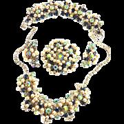 SALE Juliana Faux Pearl Drippy Rhinestone Necklace Bracelet Earrings Brooch