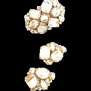 SALE Exquisite Huge Designer Clamper Bracelet and Earrings Vintage 50s