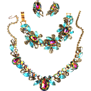 SALE Jaw Dropping Watermelon Necklace Bracelet Earrings Vintage Parure