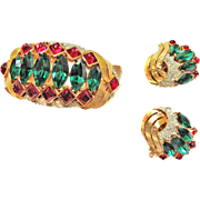 SALE Magnificent Jewels of India Trifari Cuff Bracelet and Earrings