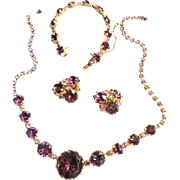 SALE Classic Amethyst Rhinestone Necklace Bracelet Earrings