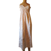 SOLD RESERVED..Vintage Nightgown Natori Pink Satin Brocade Box Pleats Bodice Applique Long Lig