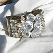 SALE Sensational large Rivoli Rhinestone Clamper Bracelet Wow factor Circa 60's