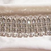 SALE Fantastic Bold Wide Bright sparkling all rhinestone Link Bracelet Weiss co 1947