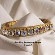 SALE Sensational 24 sparkling Aurora Borealis Rhinestone side open Bangle Bracelet