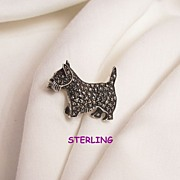 SALE Fabulous small sterling marcasite red rhinestone eye Scottie Dog Brooch