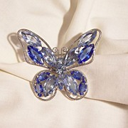 SALE Stunning Jour Light topaz blue and sapphire color Rhinestone Butterfly Brooch