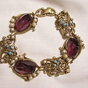 SALE Fabulous Carved Jour purple glass domed stone simulated Turquoise and Pearl Link Bracelet