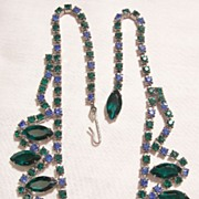 SALE Fabulous open back glass bevel Emerald green and Blue topaz color Rhinestone Necklace