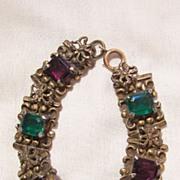 SALE Vintage beautiful Jour Emerald cut Czech stone purple and green glass rhinestone butterfl