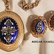 SALE Rare Extraordinary Miriam Haskell Russian gold tone Large Locket Necklace and Earrings