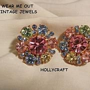 SALE Gorgeous Hollycraft Pastel rhinestone Clip Earrings