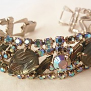 SALE Show stopper Bold Givre frosted Glass peacock rhinestone Scroll clasp Vintage Bracelet