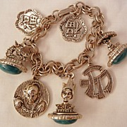 SALE Fantastic Asian Simulated green color Fob Dragon Buddha Charm Bracelet