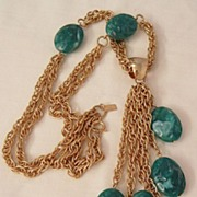 SALE Fantastic bold and rare molded simulated Jade color bead dangling Necklace Celebrity