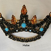 SALE Fantastic Rare Hobe Jet Black Topaz color rhinestone Turquoise cabochon Crown Brooch