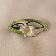 SALE Art Nouveau British sterling Guilloche Calla Lily C Clasp Brooch 1905