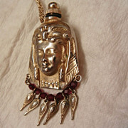 SALE Very Rare Napier Egyptian Nouveau woman red crystals Perfume Bottle Necklace GF Chain