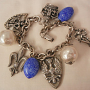 SALE Outstanding Coro British theme Charm Bracelet fantastic Fobs Lapis color bead sim Baroque
