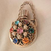 SALE Chatelaine Perfume Bottle Pendent Rhinestone Jewel simulated seed pearl