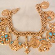 SALE Fantastic Asian Kwan Yin Dragon Fleur de lies fob protect heal gem Charm Bracelet