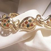 SALE Gorgeous High end Coro pat pend Emerald green Topaz Gray color rhinestone Bracelet