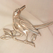SALE Gorgeous large Coro Sterling Bird on a branch Brooch